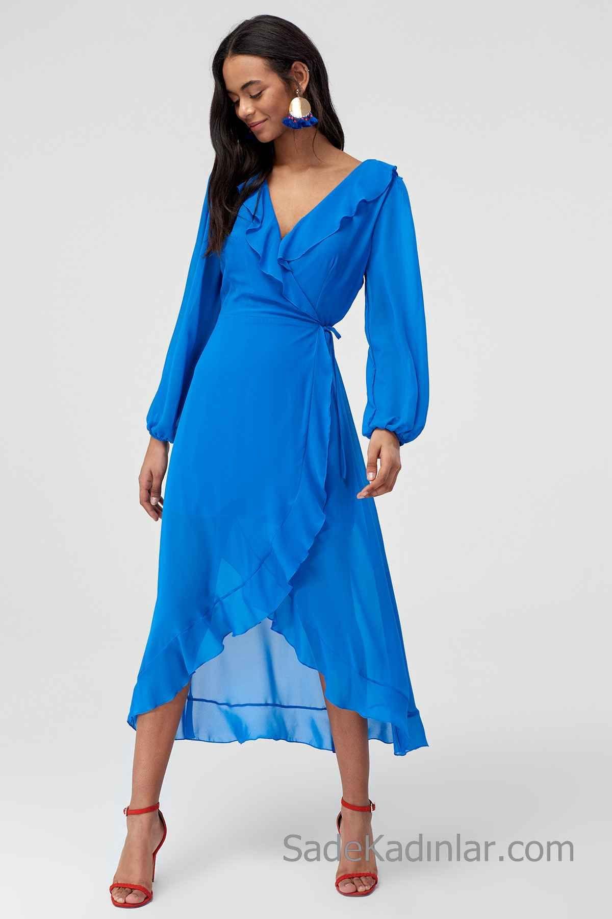 2020 Gunluk Elbise Modelleri Saks Mavi Midi Kruvaze Uzun Kollu Firfirli Elbise Modelleri Elbise Cicekli Elbiseler