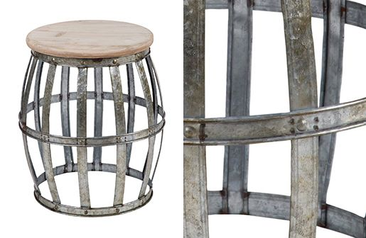 Lovely Barrel End Table, Woven Accent Table, Drum End Table