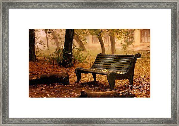 Long Forgotten Lovers Bench Framed Print by Heinz G Mielke #fallscenery