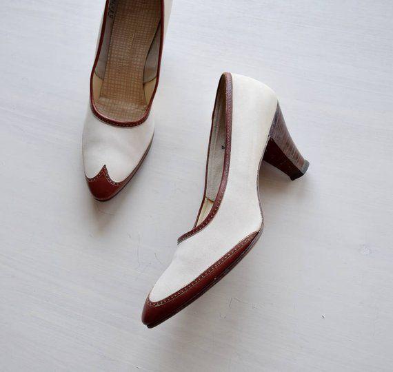 Bridal Shoes Saks: Vintage 1950s Spectator Heels