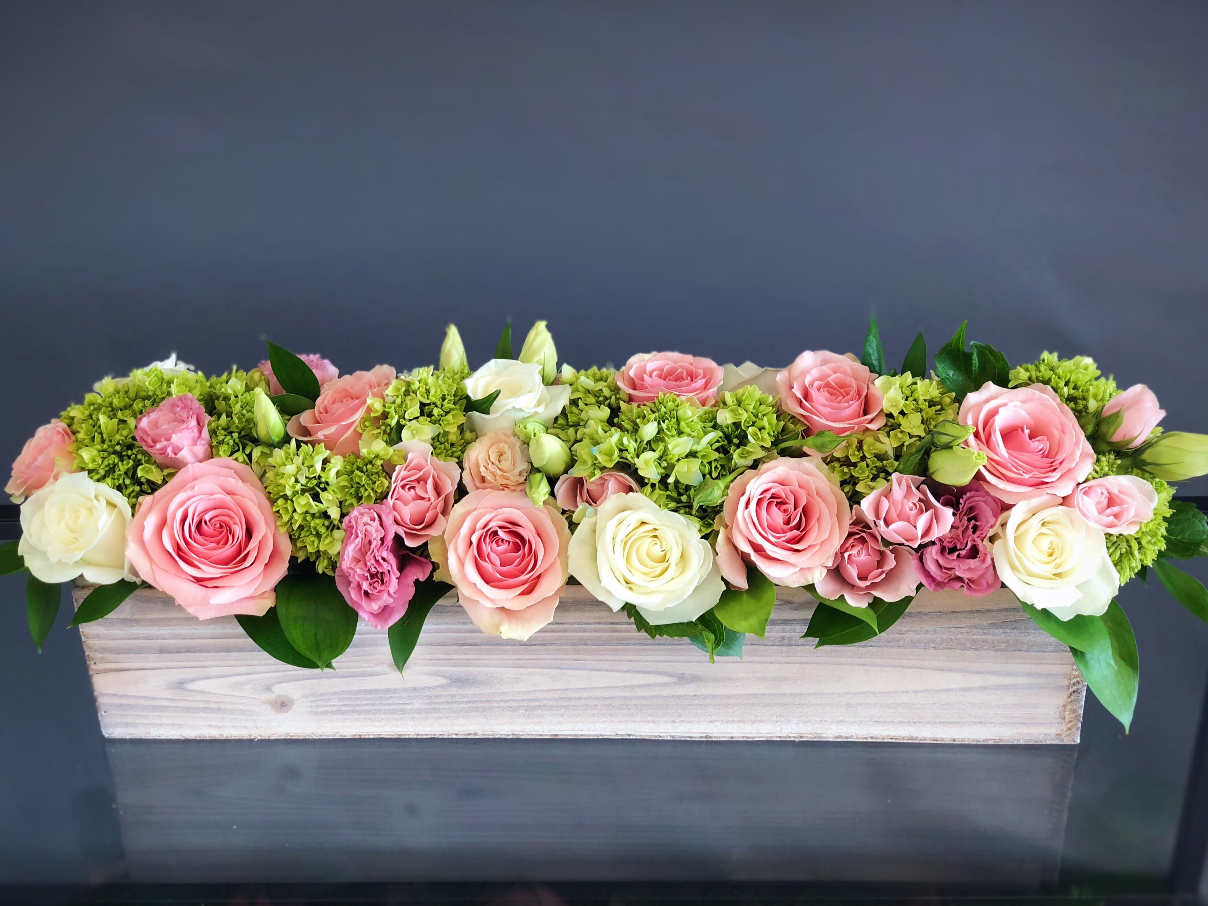 Send 29 Mother's Day Green & Pink Long Wood Box