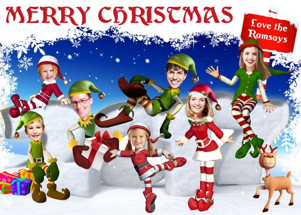 elf holiday card personalized funny christmas card elves family portrait elf christmas card