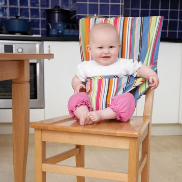 2c500c952b JoJo Maman Bebe colorful striped cotton pocket highchair, great for eating  out or travel. It rolls up tiny and can fit easily in a daiper bag.