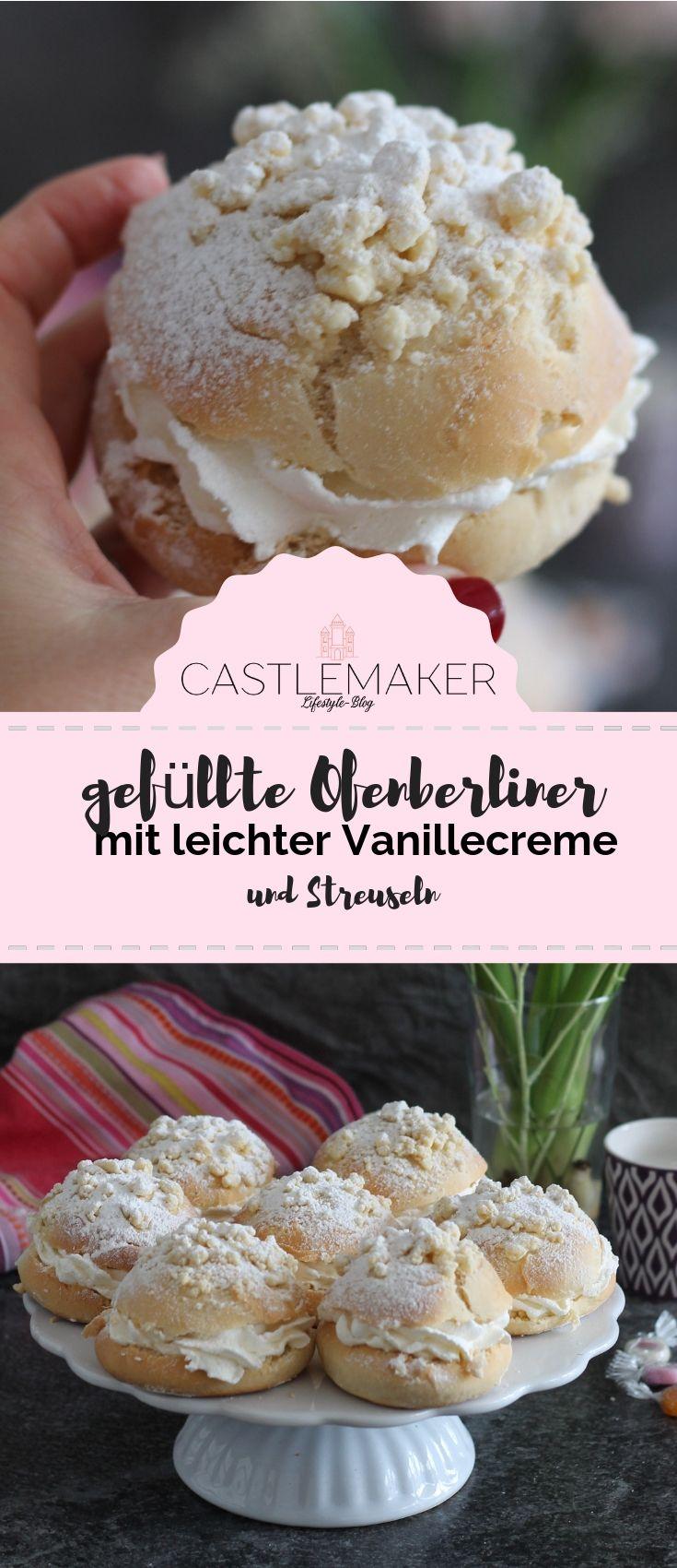 REZEPT // Gefüllte Streuseltaler mit Vanillecreme - gefüllte Ofenberliner #donutcake