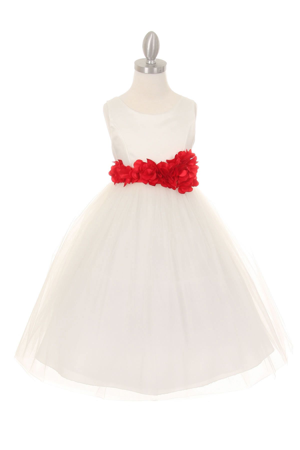 Girls Dress Style 1170 4 Choice Of White Or Ivory Dress With Red