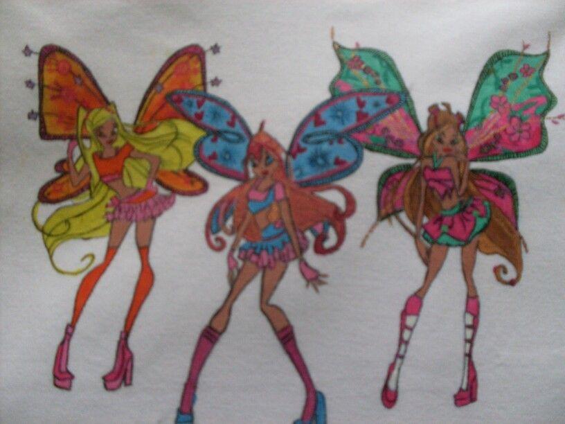 Tişört Boyama Vinx Kızları Kişiye özel Kumaş Boyama Tişört