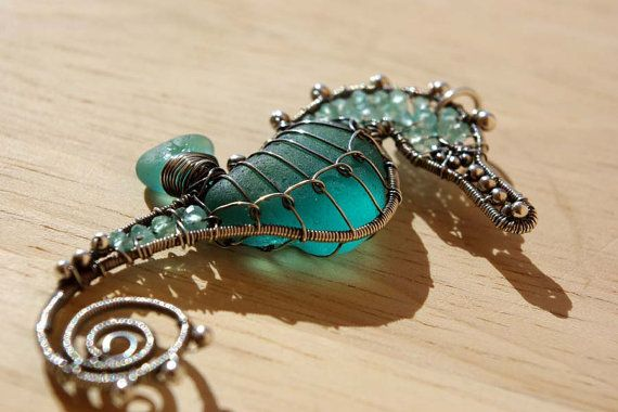 Wire wrapped Seaglass seahorse pendant