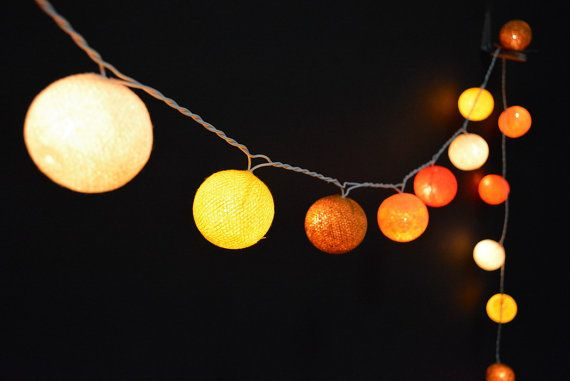 35 Lights - 5 Color Lemon&Gray Tone Cotton Ball String Lights Fairy Lights Patio Lights Wedding Lights Decoration Lights