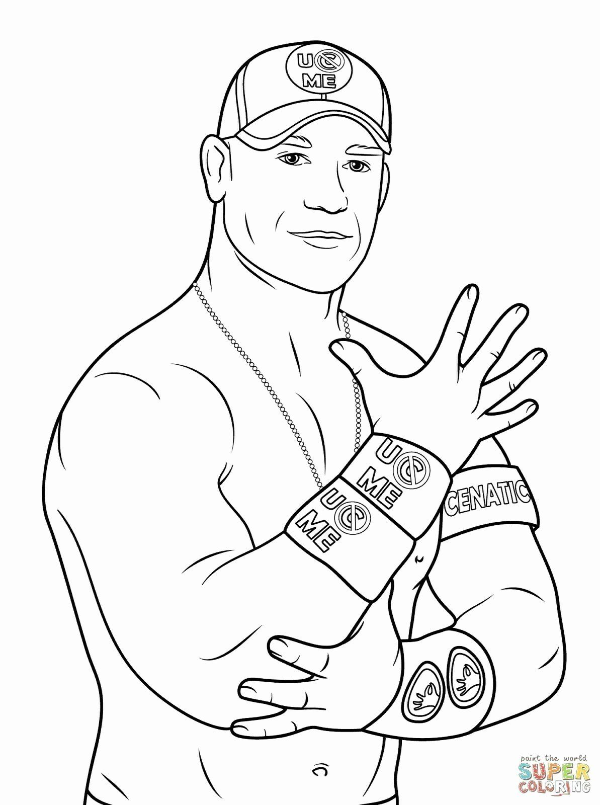 John Cena Coloring Pages Sketch Template Wwe Coloring Pages