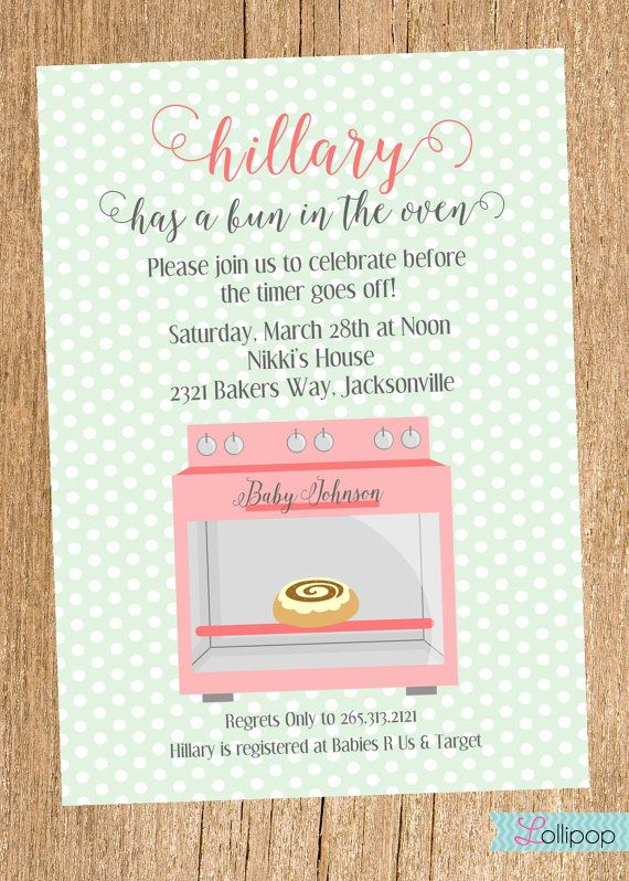 Bun in the Oven Baby Shower Printable Invitation by