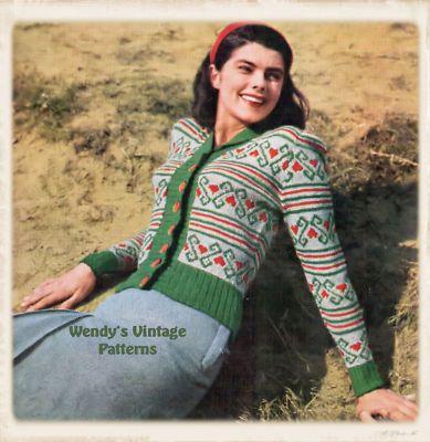 1940s stranded knitting pattern on eBay #vintage #knitting