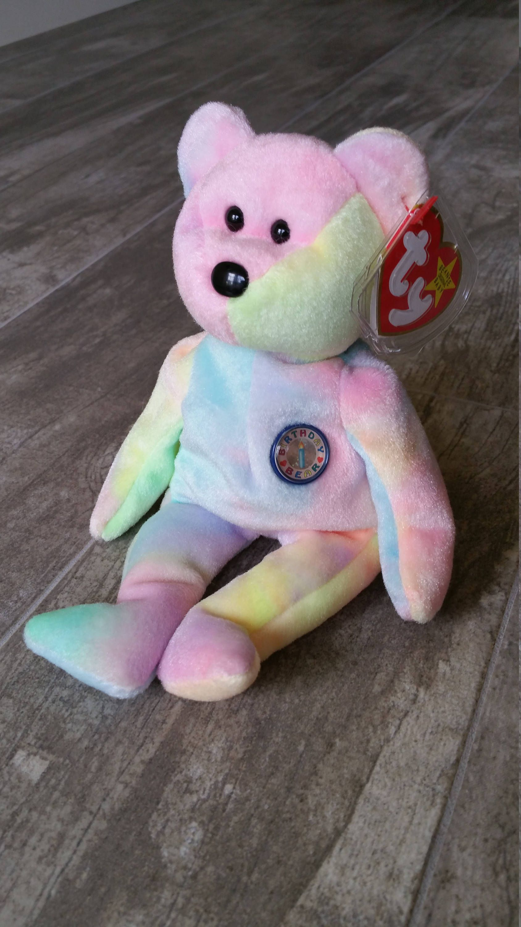b2de7885bae TY B B Birthday Bear Tie Dyed Bday Beanie Baby RARE Original Collectible  Easter Decor Nursery Baby Shower Christmas Rainbow Sherbet Toy Gift by ...