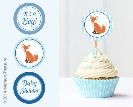 Hey, I found this really awesome Etsy listing at https://www.etsy.com/listing/228021378/fox-baby-shower-cupcake-toppers