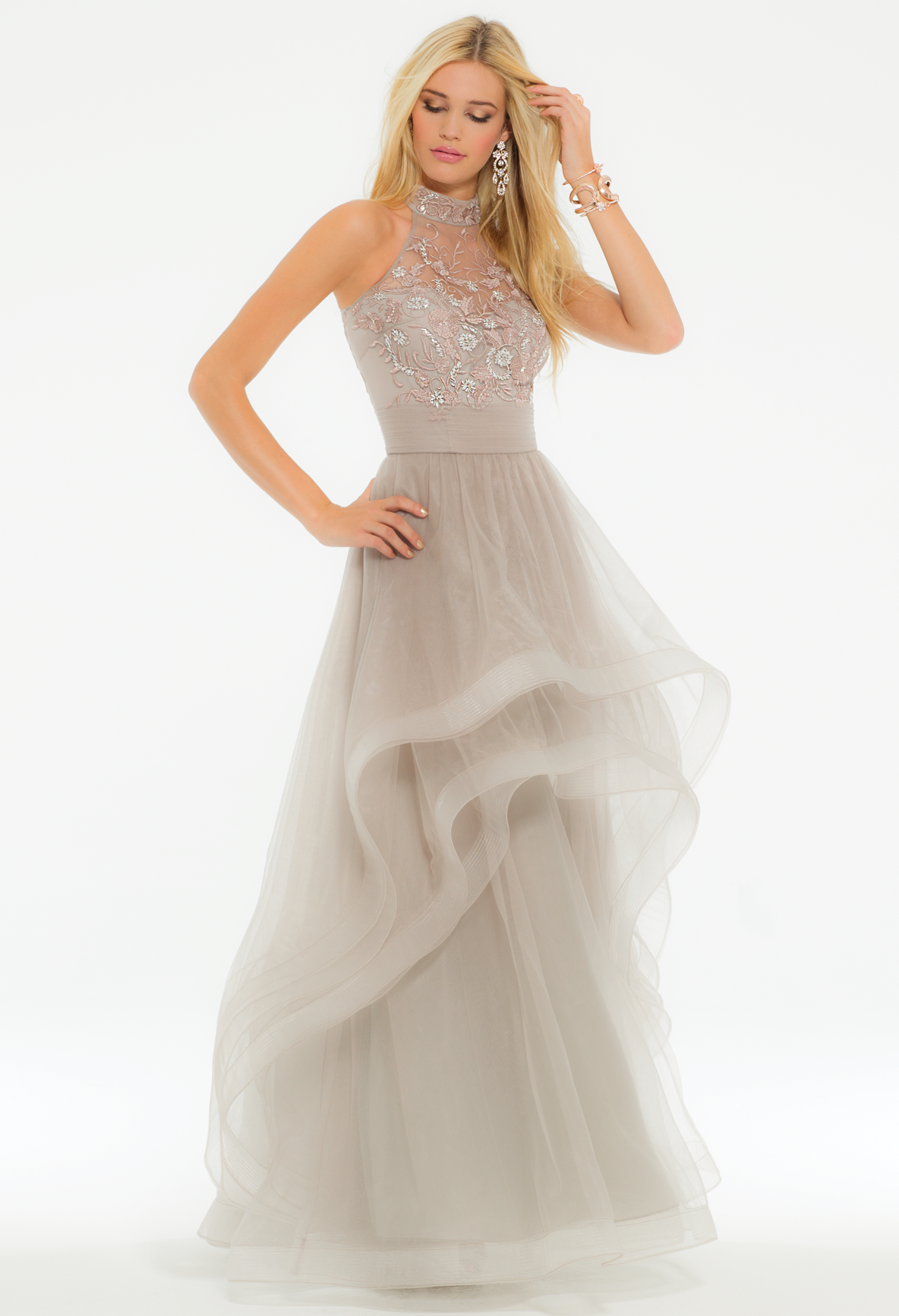 Float to your event in this magnificent ball gown dress! The Cleo neckline, fitted bodice with embroidery, A-line skirt with high-low tiered hem, and racer back make this prom dress otherworldly. #CLVprom17 #camillelavie
