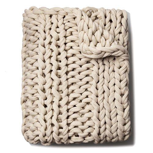 Chunky Knit Rib Throw Natural Knitted