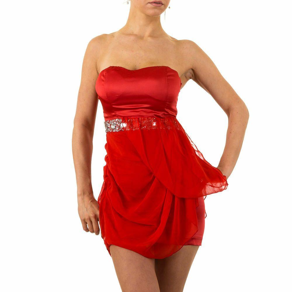 details zu kurzes strass damen kleid 40 rot 0196 | kleider