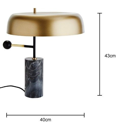 Brass Dome Table Lamp With Marble Base Vintage Table Lamp Black Table Lamps Edison Table Lamp