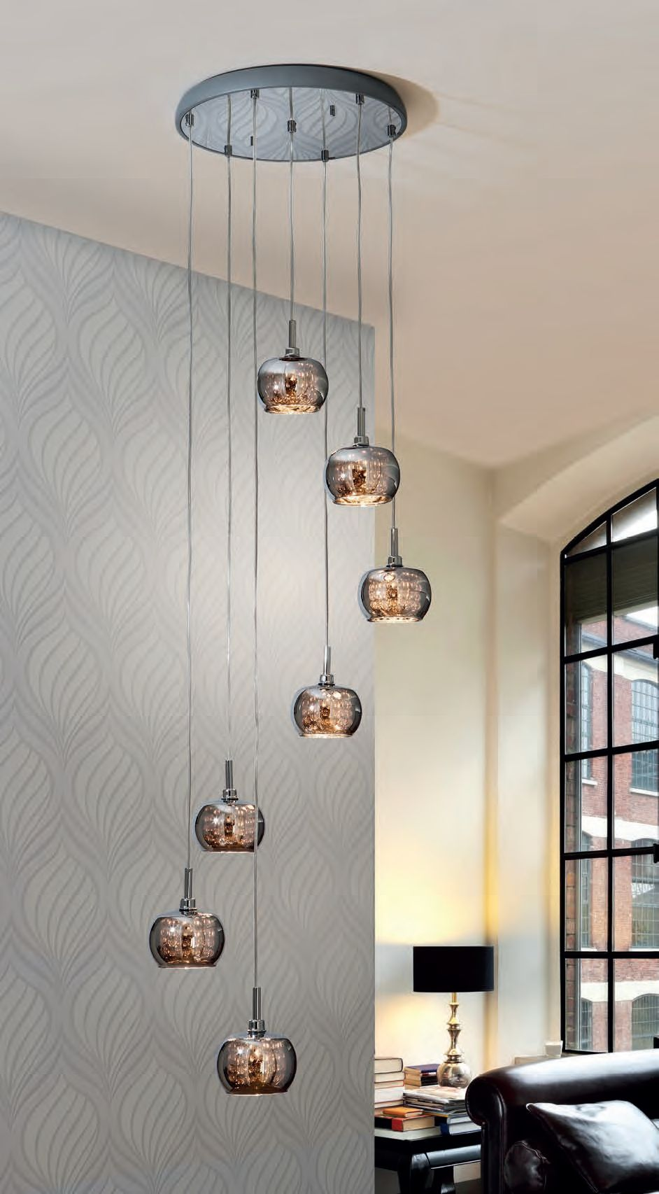 Smoked glass and crystal long drop light ideal for atriums and
