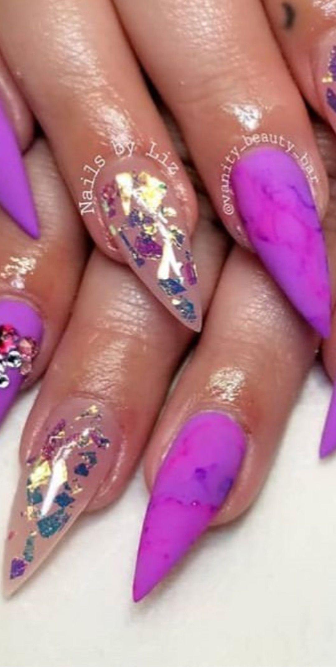Magenta Marbled Nails With Accent Asymmetrical Gold Flecks Marble Nail Designs Nail Designs Magenta Nails