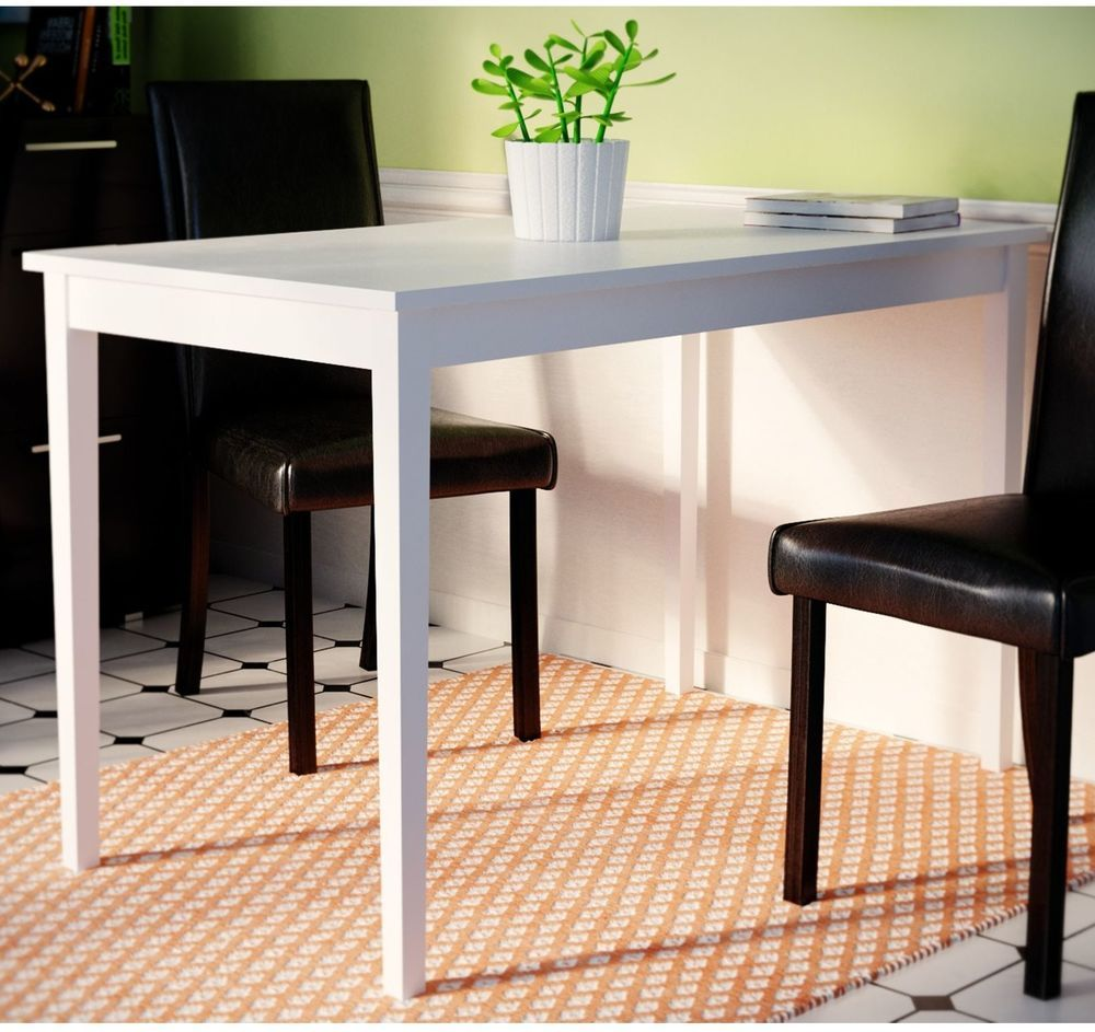 Modern compact design white wooden dining table satin finish