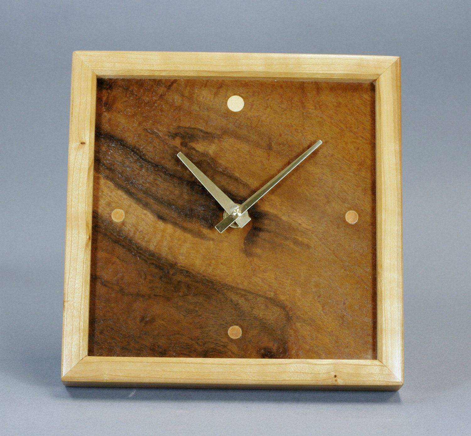 Walnut Burl Veneer And Cherry Wood Wall Mantle Clock 10 Inches Square No 61 Clouds 30 00 Via Etsy Wooden Clock Handmade Wood Crafts Cherry Wood