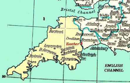 An old map of the south west of england featuring Exeter Visit