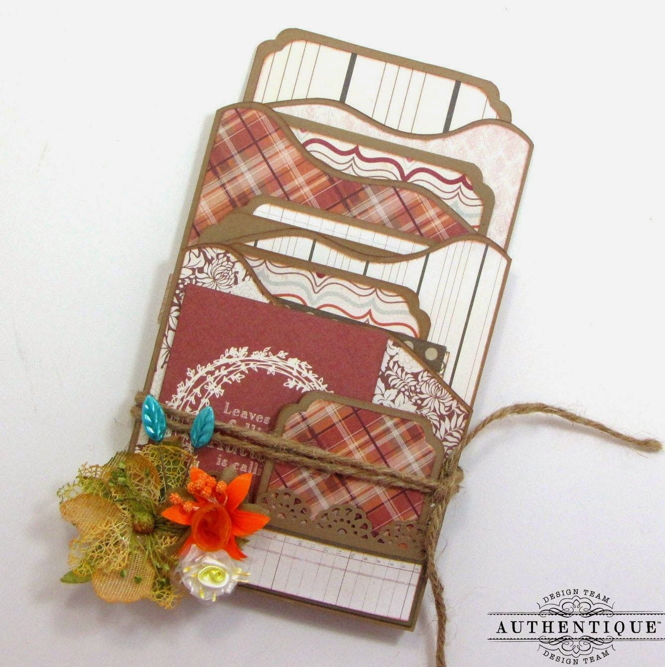Zig Zag Album by Kay Fatula is super cute when created with Authentique Thanksgiving paper and Petaloo Textured flowers!  Fill it with photos or quotes!!