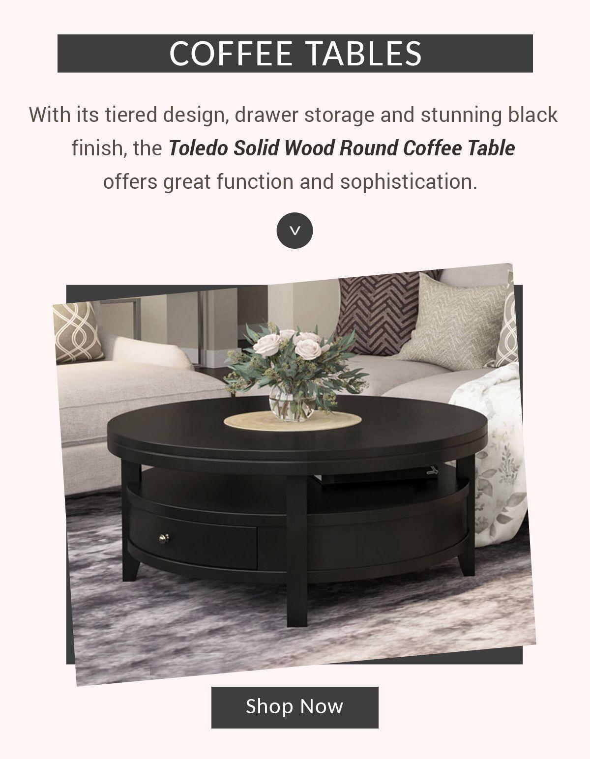 Toledo Solid Wood Black Modern Round Coffee Table In 2021 Round Coffee Table Modern Coffee Table Round Wood Coffee Table [ 1544 x 1200 Pixel ]