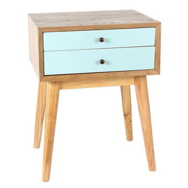 Mid Century Modern Bedside End Table Nightstand Aqua Side Accent Pine Bedroom Century Modern Mebel Meja Sisi Dekor