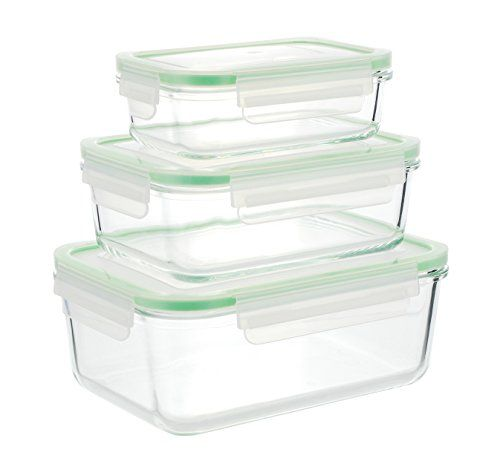 Glass Food Storage Containers With Locking Lids Kinetic Gogreen Glassworks Series 6Piece Rectangular Oven Safe Glass