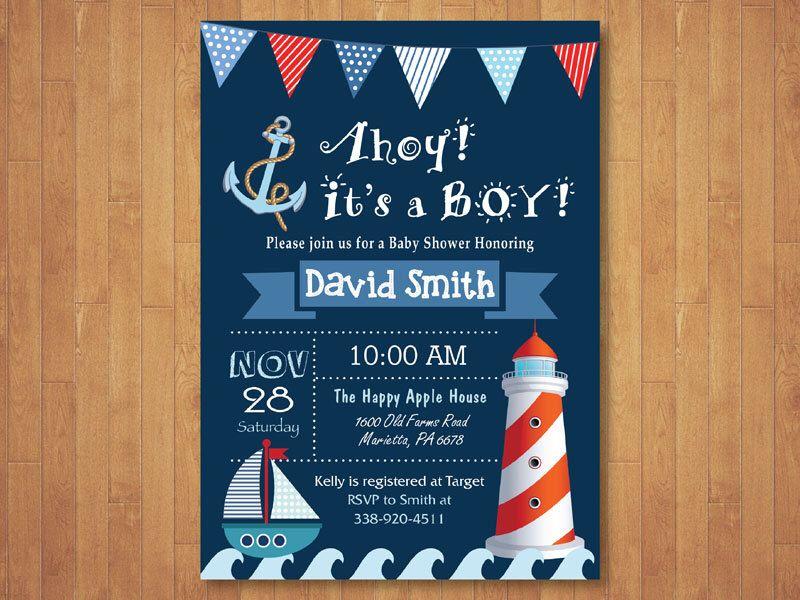 Nautical Baby Shower Invitation. Ahoy It\'s a Boy. Navy Baby Shower ...
