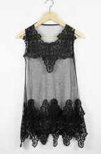 Black Lace Tank Embroidery Dress