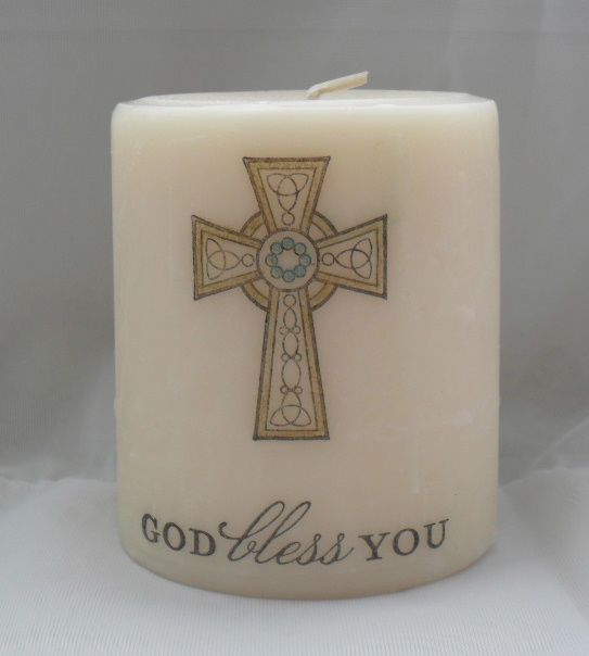 beautiful Candle with stamped Image..