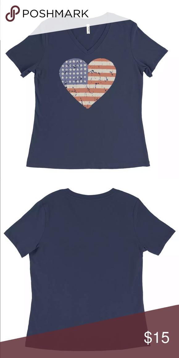 cabd663eaf93 America Heart ladies V neck tee shirt New, cotton blend, sizes sm-2x Bella  Canvas Tops Tees - Short Sleeve