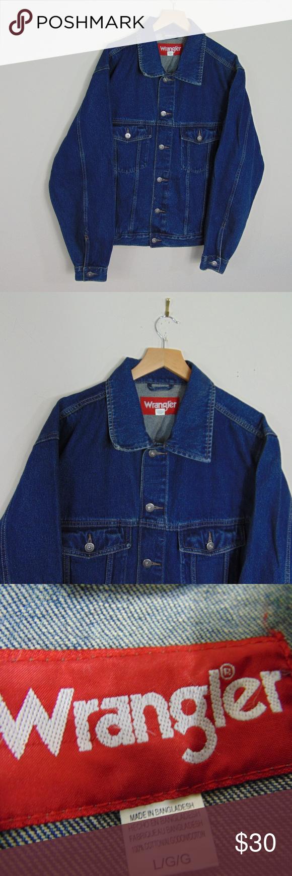 Vintage Wrangler Men L Denim Jean Trucker Jacket Vintage Wrangler Denim Jeans Washed Denim Jeans [ 1740 x 580 Pixel ]