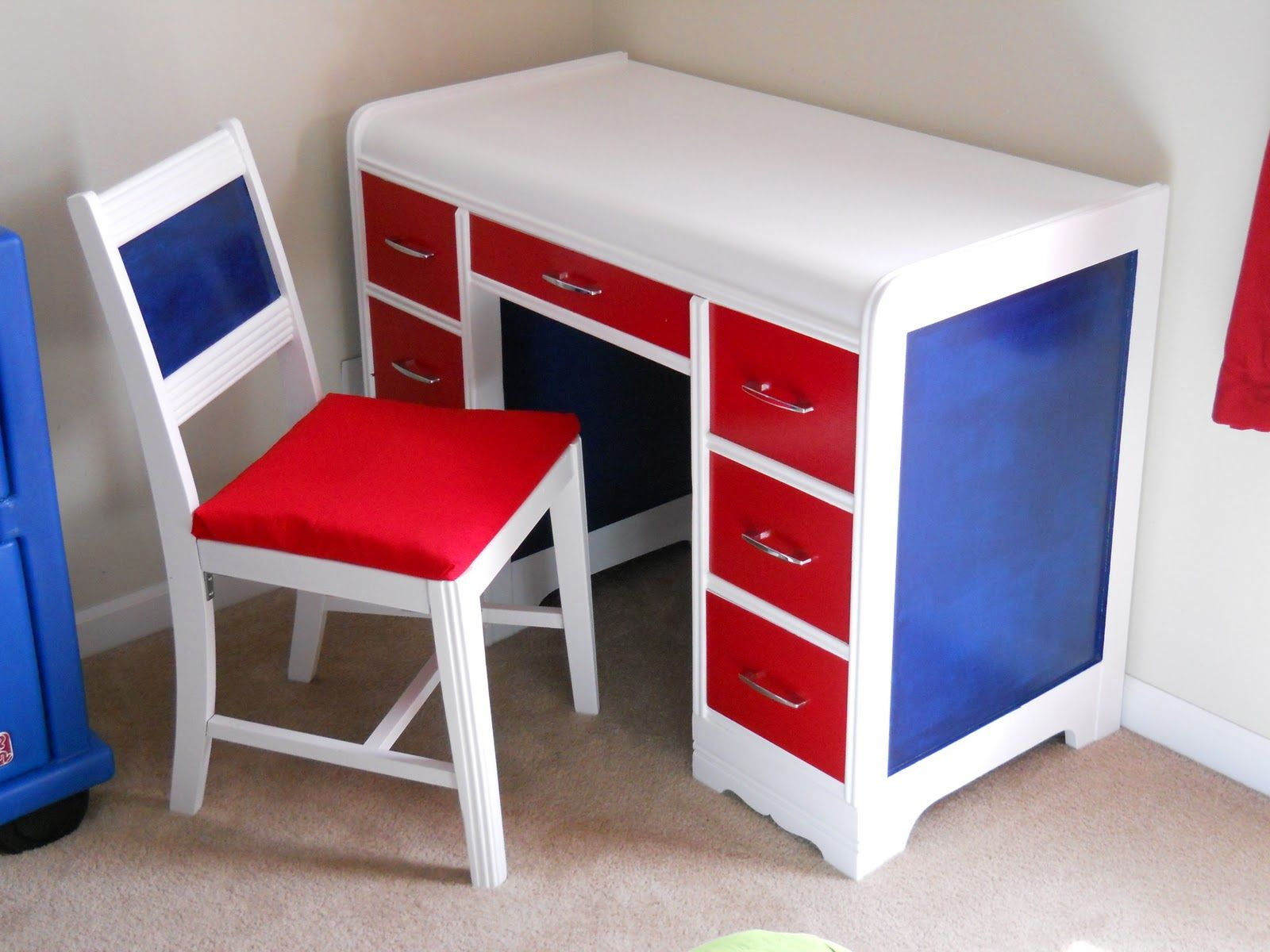 Kids Desk Accessories And Art Deco Wooden Study Table With Red Drawers And White Top Combined With Whit Childrens Desk And Chair Kids Desk Chair Kids Room Desk