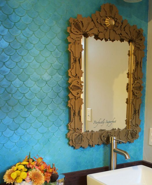 What Paint Finish For Bathroom Walls: A Gorgeous Stenciled Wall Created With The Help Of Our