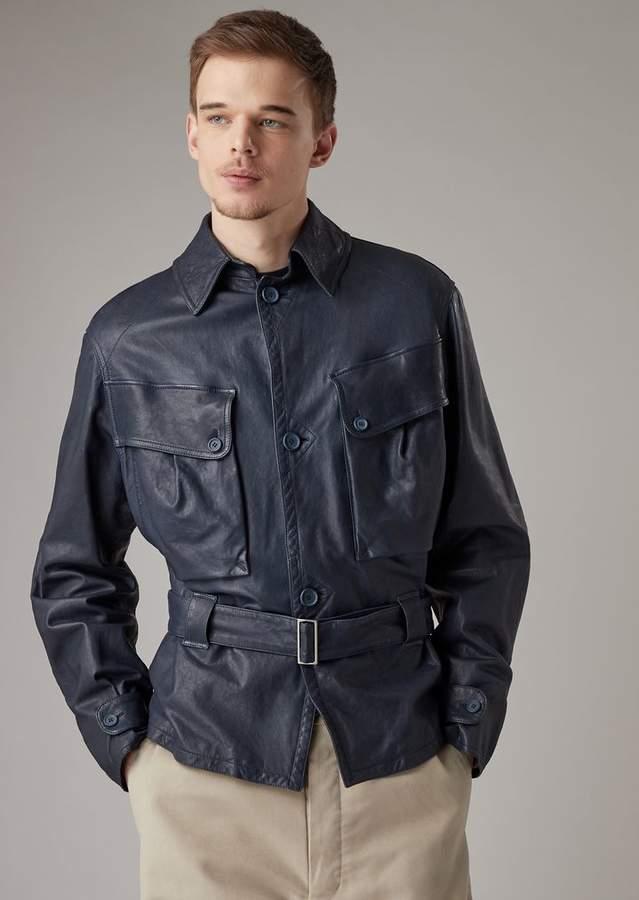 325d73e2a1 Giorgio Armani Safari Jacket In Garment-Washed Nappa Lambskin With ...
