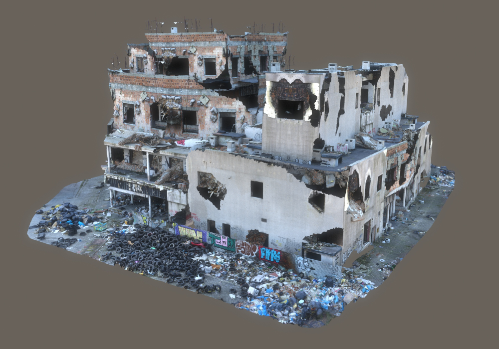 3d Abandoned Destroyed Building Mega Turbosquid 1661378 3d Model Architecture Garbage Containers Abandoned