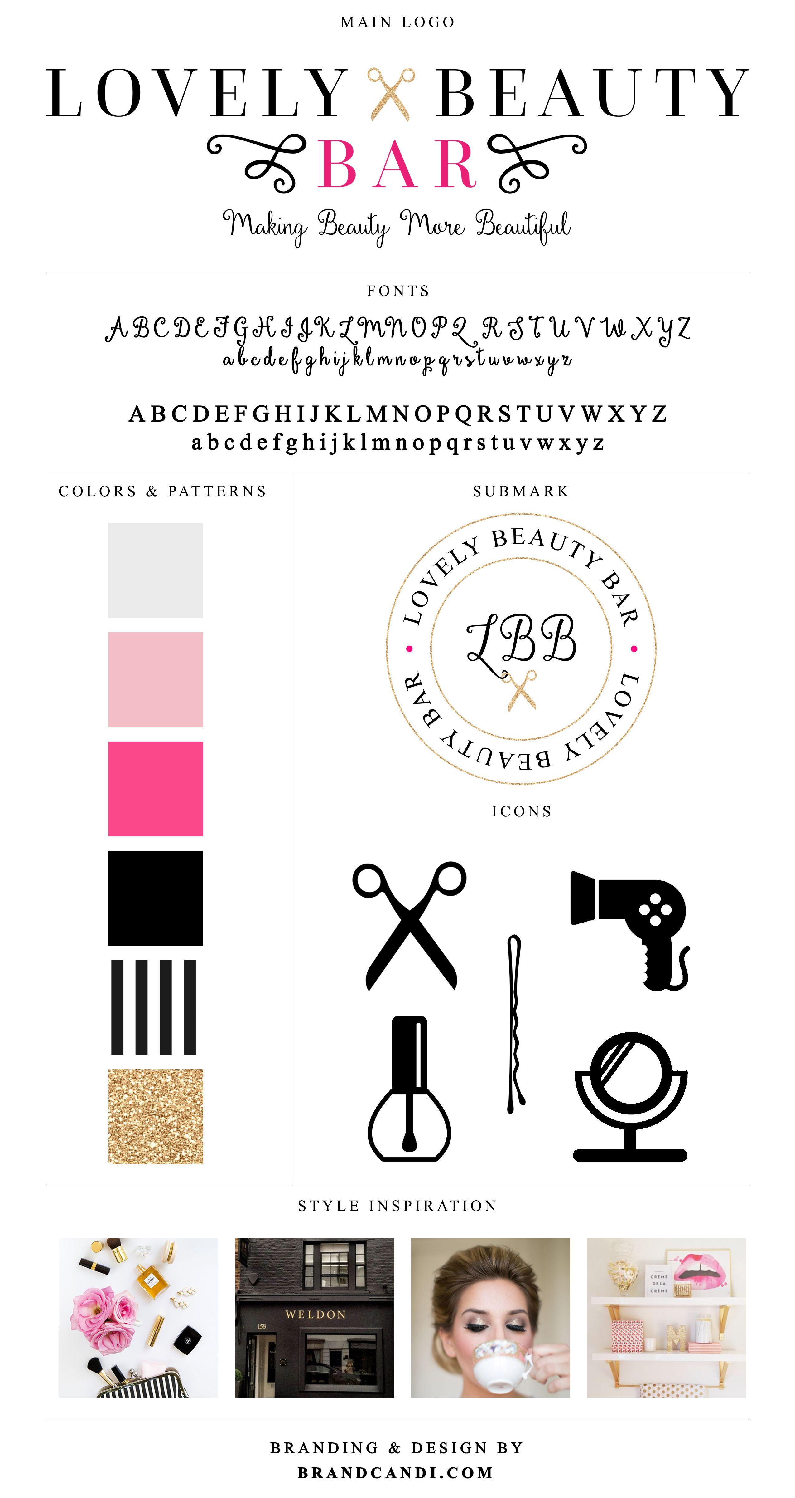 Lovely Beauty Bar Brand Style Board By Candi Spa Salon Logo
