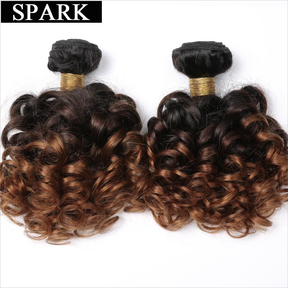 Spark Brazilian Bouncy Curly Hair Bundles 1/3/4pcs 1B/4/30&27 Ombre Color Remy Human Hair Extensions Curly Hair Weave Bundles #humanhairextensions