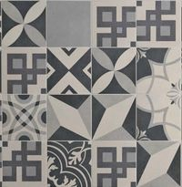 Carrelage imitation carreau de ciment gris ancien décor Grès 20x20 ...
