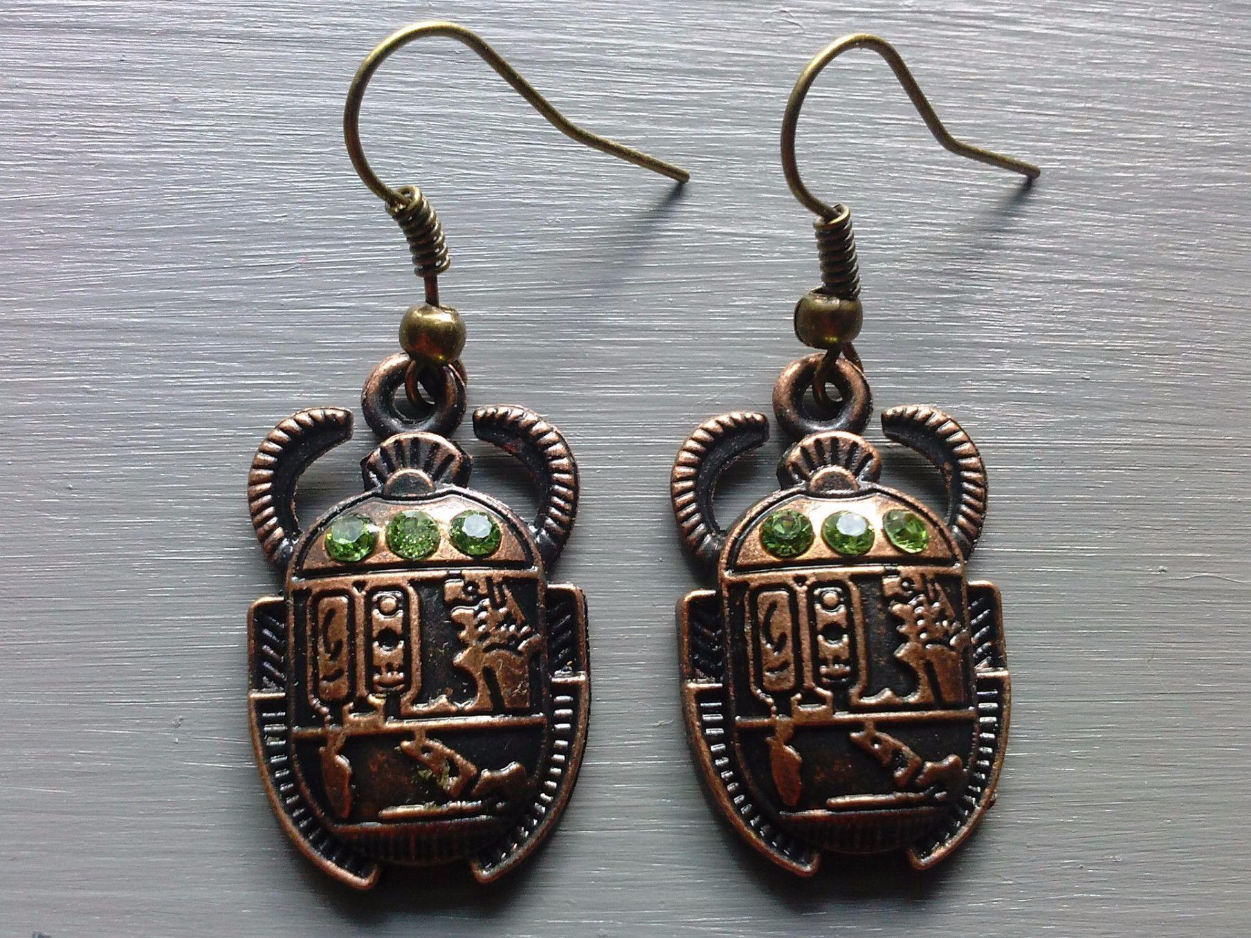 Bronze Scarab Beetle Earrings