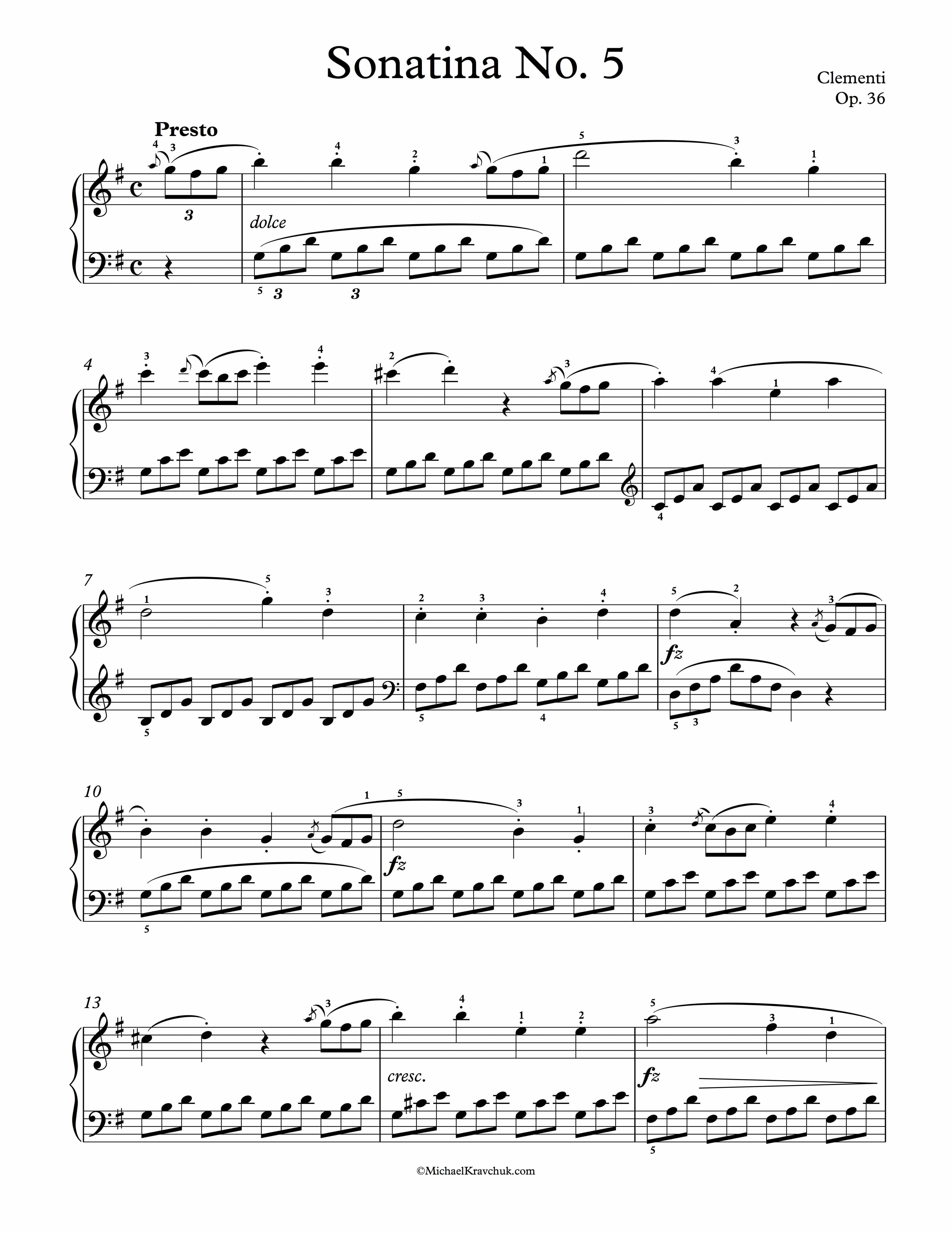Free Piano Sheet Music Sonatina Op 36 No 5 Clementi Enjoy