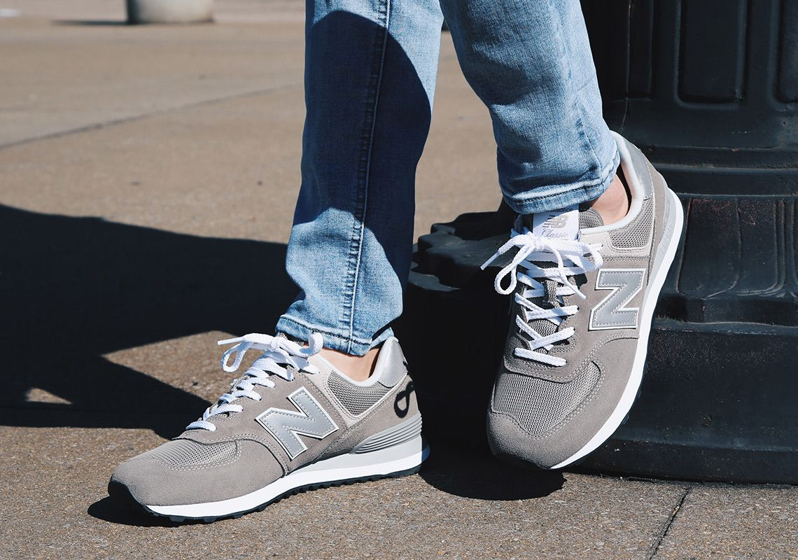 new balance 574 classic grey on foot | Sneakers | New