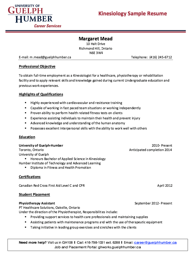 resume objective for kinesiology