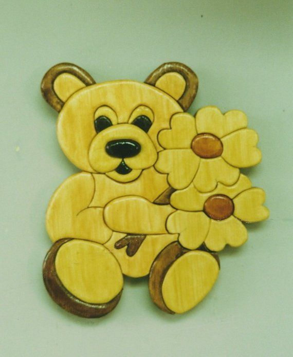 Handmade Custom Wooden Teddy Bear With Flowers от Tomscraftcastle