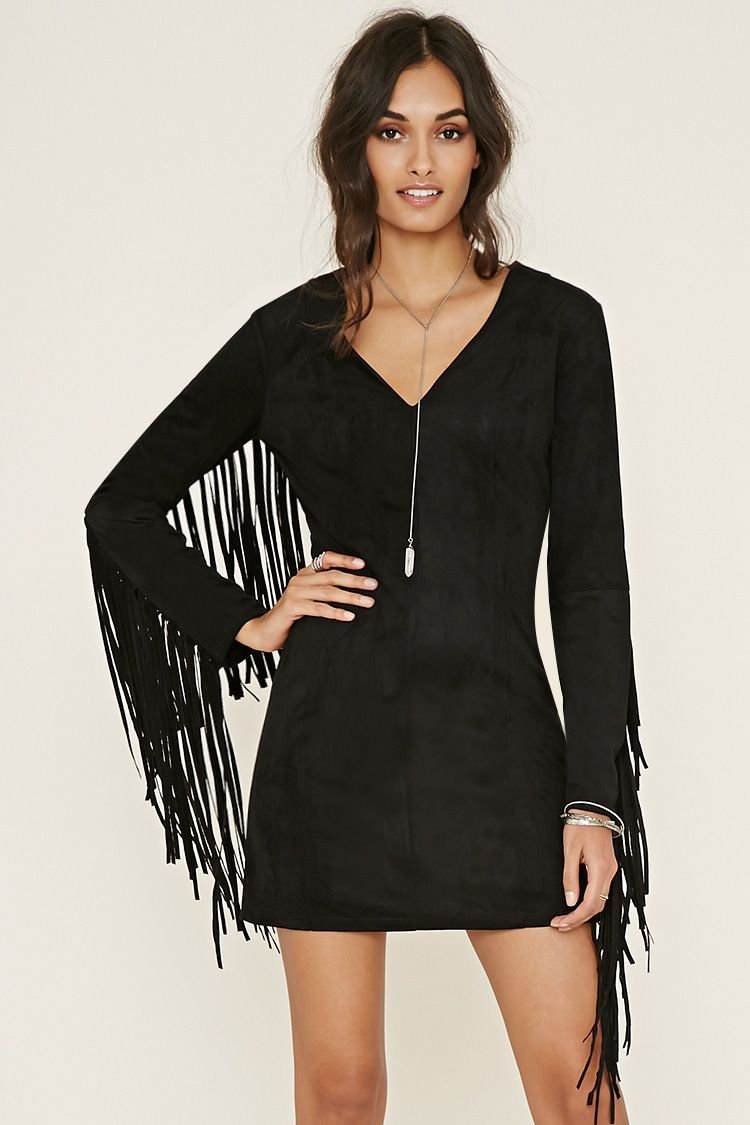 This Faux Suede Dress Is Complete With A V Neckline An Exposed Back Zipper Princess Sea Long Sleeve Suede Dress Suede Fringe Dress Long Sleeve Cocktail Dress [ 1125 x 750 Pixel ]