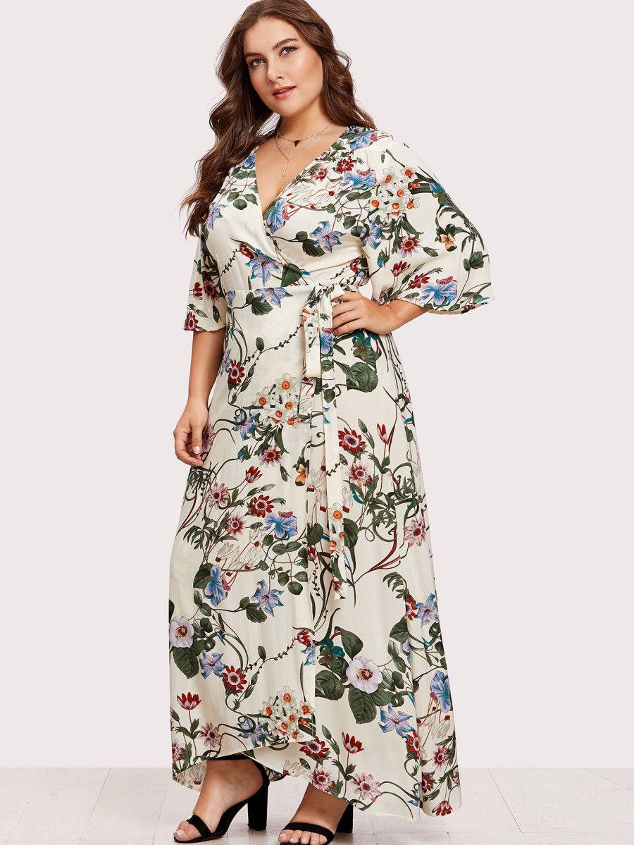 c308d5cabd Plus Kimono Sleeve Surplice Wrap Botanical Dress -SheIn(Sheinside ...