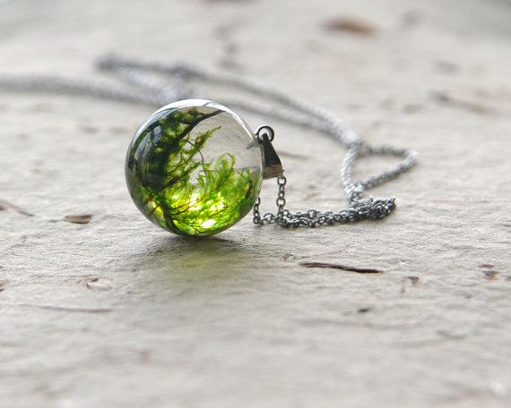 Real moss globe necklace - unique woodland crystal resin orb ball - stainless steel chain on Etsy, $38.00